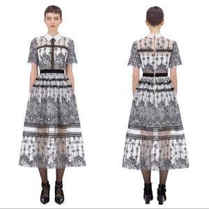 Self Portrait Daisy Floral Sequin Mesh Midi Dress